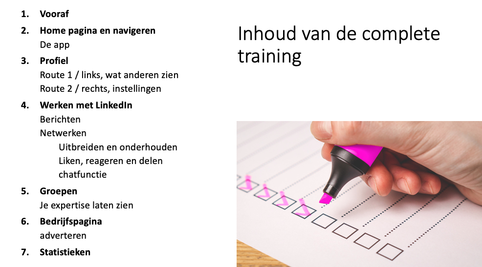Linkedin video training inhoud 7 modules